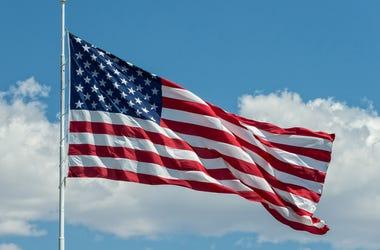 United States flag against sky