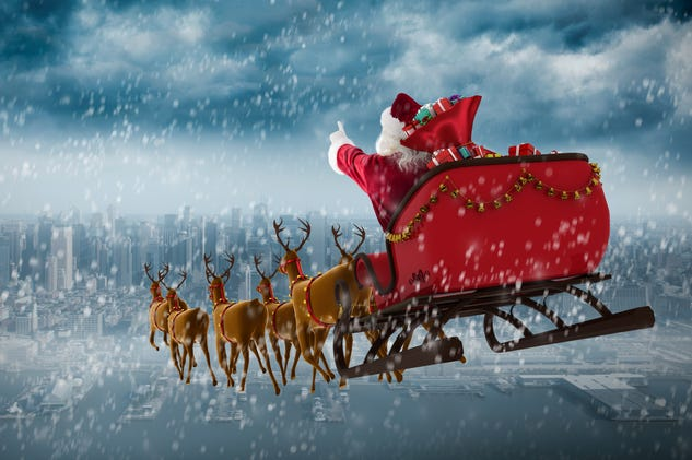 Santa Claus drives his sleigh