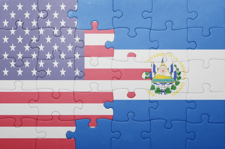 United States and El Salvador flags