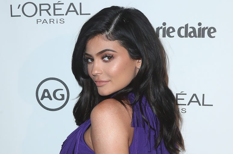 Kylie Jenner in a purple dress