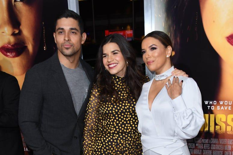 "Wilmer Valderrama, Eva Longoria, America Ferrera. ""Miss Bala"" Los Angeles Premiere held at Regal Cinemas LA Live."