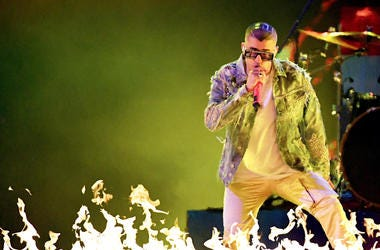 Bad Bunny performs onstage during the 19th annual Latin GRAMMY Awards at MGM Grand Garden Arena on November 15, 2018 in Las Vegas, Nevada.