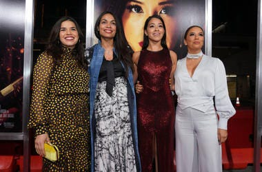 Actors America Ferrera, Rosario Dawson, Gina Rodriguez and Eva Longoria attend the premiere of Columbia Pictures' 'Miss Bala' at Regal LA Live Stadium 14 on January 30, 2019 in Los Angeles, California.