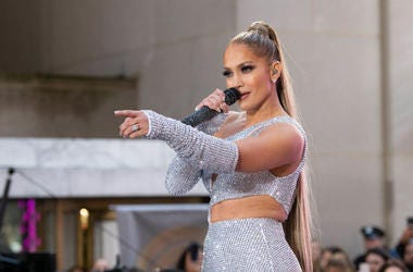 "Jennifer Lopez performs on NBC's ""Today"" at Rockefeller Plaza on May 06, 2019 in New York City."