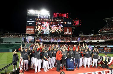 The Washington Nationals celebrate winning game four and the National League Championship Series against the St. Louis Cardinals at Nationals Park on October 15, 2019 in Washington, DC.