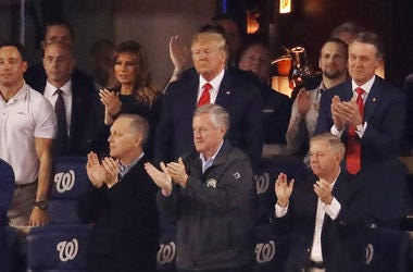 President Donald Trump attends Game Five of the 2019 World Series between the Houston Astros and the Washington Nationals at Nationals Park on October 27, 2019 in Washington, DC.