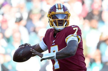 Dwayne Haskins #7 of the Washington Redskins looks to pass against the Philadelphia Eagles during the first half at FedExField on December 15, 2019 in Landover, Maryland.