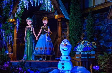 "Located in the Norway Pavilion at Epcot, Frozen Ever After celebrates a ""Summer Snow Day"" on a journey through a frozen willow forest, past Troll Valley and up to Queen Elsa's palace high up on the north mountain."