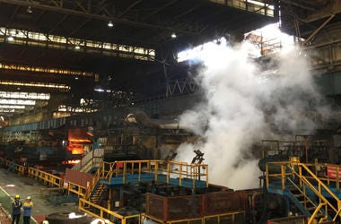 The hot rolled mill at Port Talbot steelworks.
