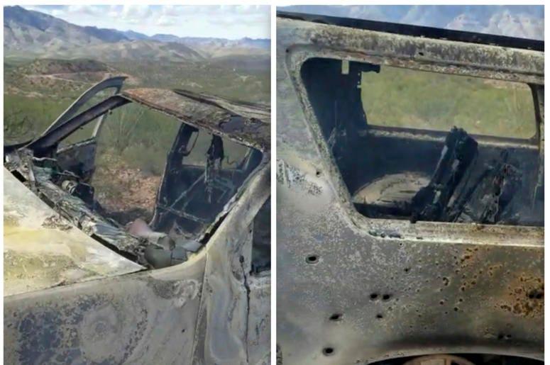 Combinación de imágenes de un video de Kenny Miller del 4 de noviembre de 2019 publicado en la cuenta de Twitter de Alex LeBarón de un vehículo calcinado en el que iban algunos miembros de la familia LeBarón cerca de la frontera entre los estados fronteri