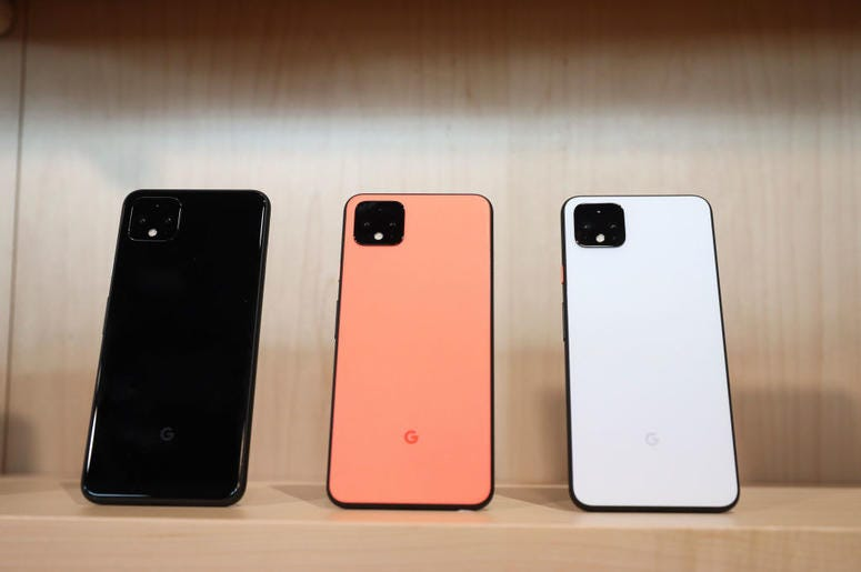 The new Google Pixel 4 smartphone is displayed during a Google launch event on October 15, 2019 in New York City. The new Pixel 4 and Pixel 4 XL phone starts at $799 and will begin shipping on Oct. 24. (