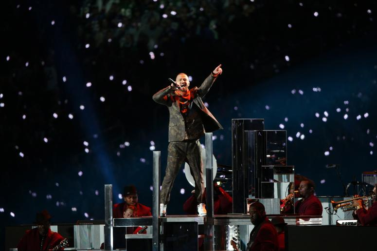 Justin Timberlake on stage at the 2018 Super Bowl