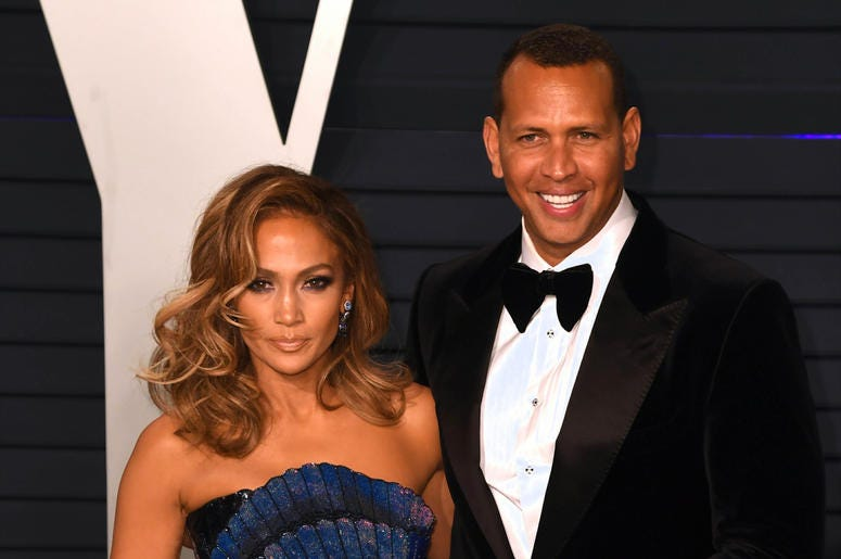 Jennifer Lopez and Alex Rodriguez at the Vanity Fair Oscar Party on February 24, 2019 in Los Angeles, California.