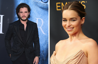 Kit Harrington and Emilia Clarke of HBO's Game of Thrones