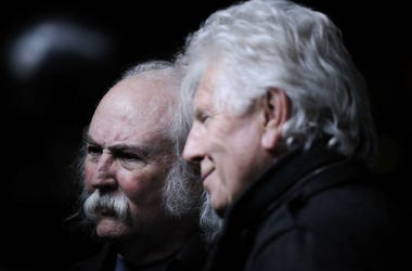 David Crosby and Graham Nash being interviewed on the red carpet at the 7th Annual Focus for Change Benefit for WITNESS at Roseland Ballroom