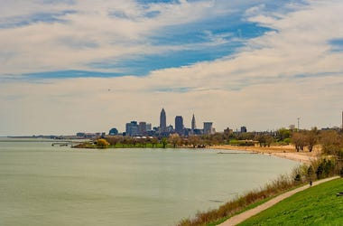Cleveland Ohio skyline from Edgewater Park on Lake Erie, with Edgewater beach