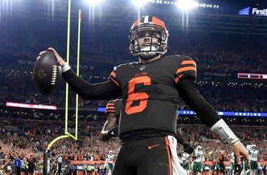 CLEVELAND, OH - SEPTEMBER 20:  Baker Mayfield #6 of the Cleveland Browns celebrates after making a catch on a two-point conversion attempt during the third quarter against the New York Jets at FirstEnergy Stadium on September 20, 2018 in Cleveland, Ohio.