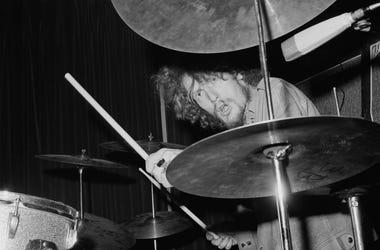 Drummer Ginger Baker of British rock band Cream in concert,