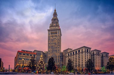 cleveland terminal tower at sunset