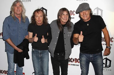 (L-R) Cliff Williams, Angus Young, Malcolm Young and Brian Johnson of AC/DC