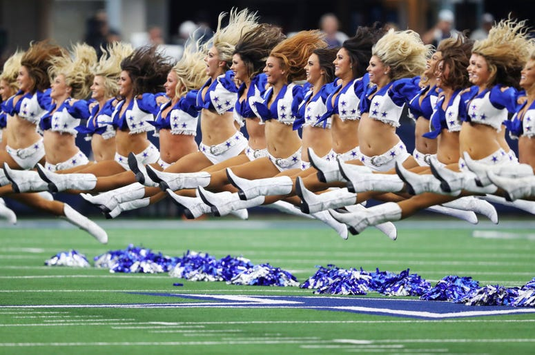 The Dallas Cowboys cheerleaders perform during the game between the New York Giants and the Dallas Cowboys at AT&T Stadium on September 08, 2019 in Arlington, Texas.