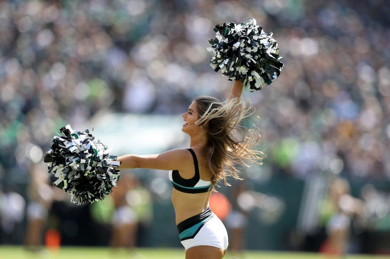 Philadelphia Eagles cheerleaders preform during the Eagles and Washington Redskins game at Lincoln Financial Field on September 08, 2019 in Philadelphia, Pennsylvania.
