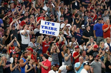 Cleveland Indians fans cheer against the Philadelphia Phillies