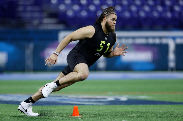 Offensive lineman Jedrick Wills Jr. of Alabama runs a drill during the NFL Combine