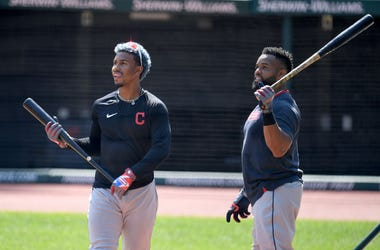 CLEVELAND, OHIO - JULY 06: Francisco Lindor #12 and Carlos Santana #41 of the Cleveland Indians take part in summer workouts at Progressive Field on July 06, 2020 in Cleveland, Ohio. (Photo by Jason Miller/Getty Images)