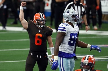 Baker Mayfield #6 of the Cleveland Browns celebrates a touchdown against the Dallas Cowboys
