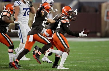 Sheldrick Redwine #29 of the Cleveland Browns celebrates after making an interception in the fourth quarter against the Indianapolis Colts
