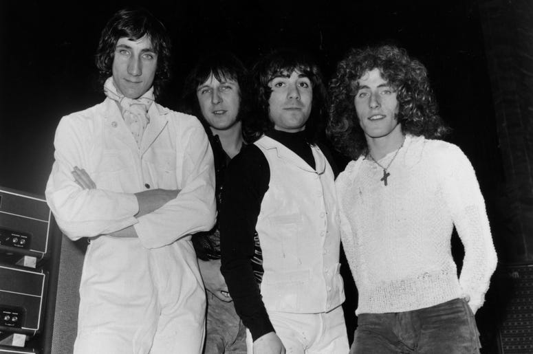(L-R): Guitarist Pete Townshend, bassist John Entwistle (1944 - 2002), drummer Keith Moon (1946 - 1978) and singer Roger Daltrey, 1969.