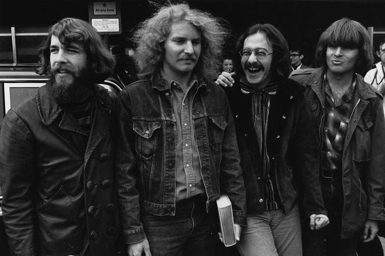 American country rock group Creedence Clearwater Revival. From left to right; Doug Clifford, Tom Fogerty, Stu Cook and John Fogerty.