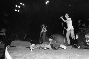 1977: The Clash on stage performing at the Rainbow, London.
