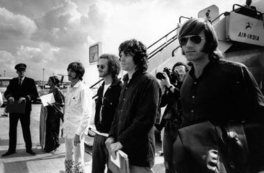 left to right; John Densmore, Bobby Krieger, Jim Morrison (1943 - 1971) and Ray Manzarek.