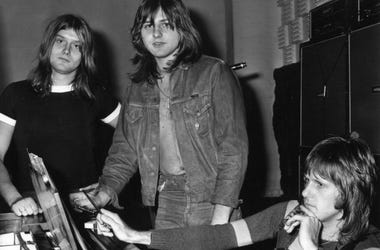 ELP, or Emerson, Lake and Palmer, in the studio for the recording of their album, 'Trilogy'. From left to right: Carl Palmer (drums), Greg Lake (vocals, bass, guitar) and Keith Emerson (keyboards).