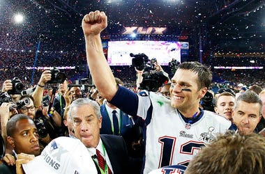 Tom Brady #12 of the New England Patriots celebrates after defeating the Seattle Seahawks 28-24 during Super Bowl XLIX