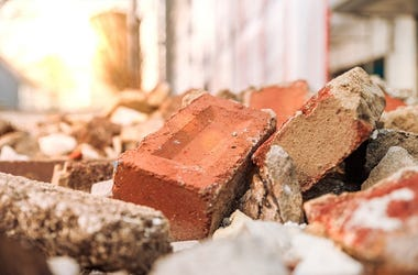Bricks in rubble