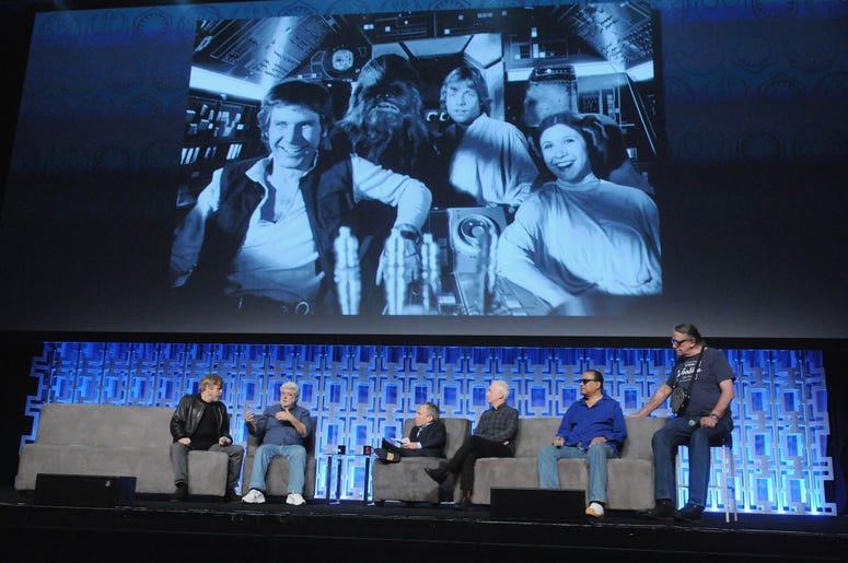 Mark Hamill, George Lucas, Warwick Davis, Anthony Daniels, Billy Dee Williams and Peter Mayhew attend the 40 Years of Star Wars panel during the 2017 Star Wars Celebrationat Orange County Convention Center on April 13, 2017 in Orlando, Florida.