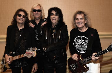 Alice Cooper (3rd. from left) with original band members Dennis Dunaway, Neal Smith and Michael Bruce