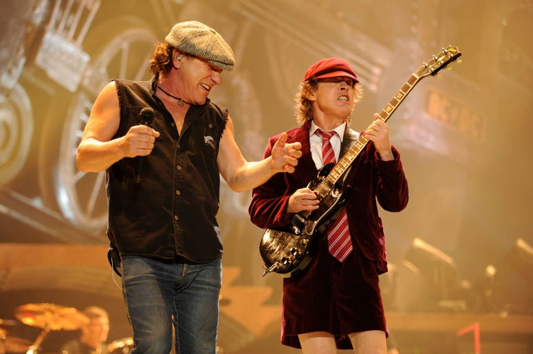 Brian Johnson(L) and Angus Young of AC/DC