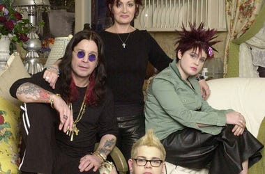 The Osbournes, Ozzy (L), Sharon, Jack, and Kelly