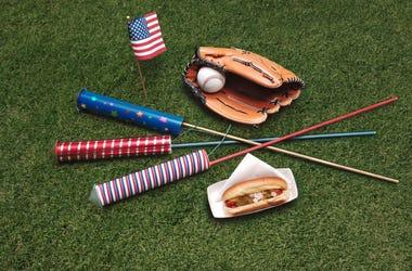 Baseball and fireworks