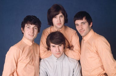 from left: drummer Mick Avory, guitarist Dave Davies, bassist Pete Quaife (1934 - 2010) and singer Ray Davies