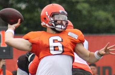 Browns rookie quarterback Baker Mayfield throws during a training camp practice at the team's facility in Berea, Ohio.