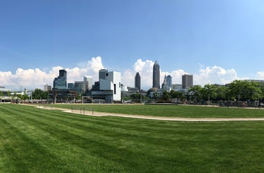 View of the Rock Hall from Voinovich Park in Cleveland