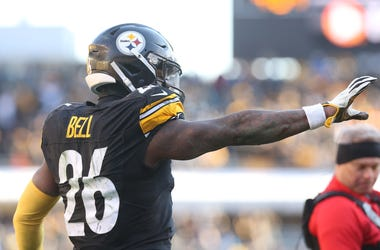 Jan 14, 2018; Pittsburgh, PA, USA; Pittsburgh Steelers running back Le'Veon Bell (26) celebrates after catching a touchdown pass against the Jacksonville Jaguars during the third quarter in the AFC Divisional Playoff game at Heinz Field. Mandatory Credit: