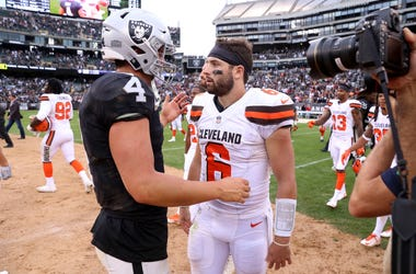 Sep 30, 2018; Oakland, CA, USA; Oakland Raiders quarterback Derek Carr (4) meets with Cleveland Browns quarterback Baker Mayfield (6) after the game at Oakland Coliseum. Mandatory Credit: Cary Edmondson-USA TODAY Sports