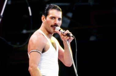 July 13, 1985; London, UK; Queen front-man Freddie Mercury during the Live Aid concert. Mandatory Credit: PA Images/Sipa USA via USA TODAY NETWORK
