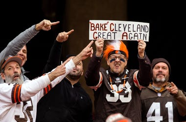 A Cleveland Browns fan holds a sign during the fourth quarter between the Cleveland Browns and the Kansas City Chiefs at FirstEnergy Stadium.